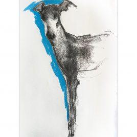 1577C Standing Hound on Blue – Sally Muir