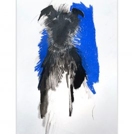 1590C Rough Haired Lurcher on Blue – Sally Muir