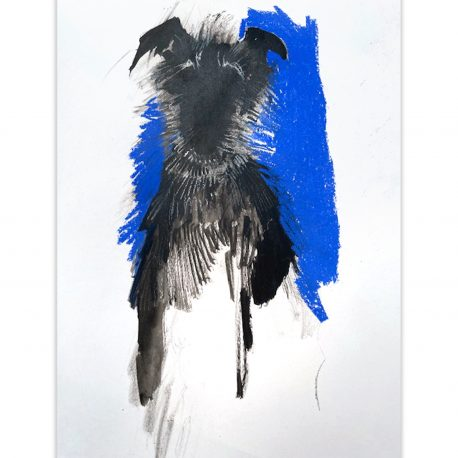 scruffy hound on blue – Copy